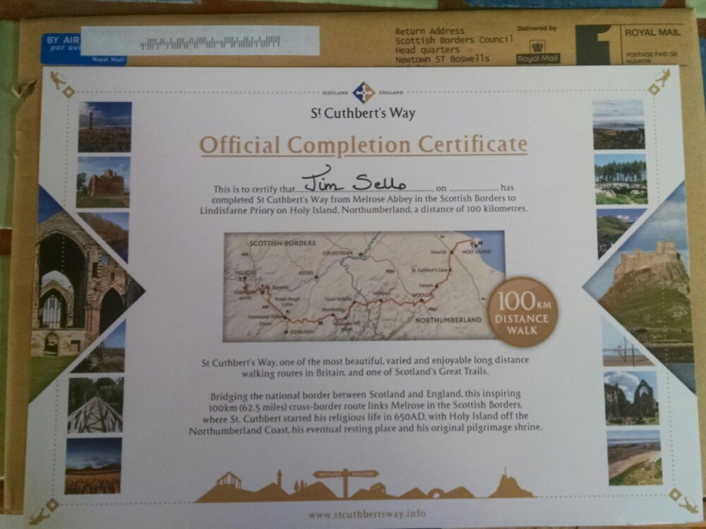 Completion certificate, St Cuthbert's Way