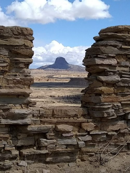 Cabezon Peak from a window opening at Guadalupe Ruin